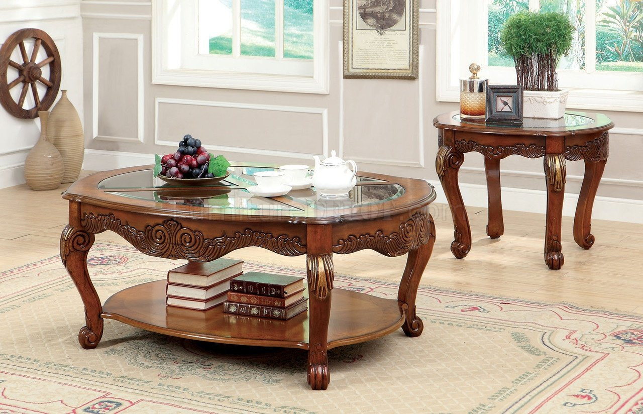 Cm4643 Amadis Coffee Table In Antique Style Oak W Options