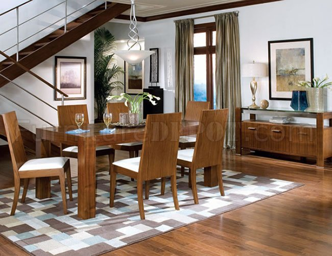 contemporary walnut finish dining room w wooden chairs crds 43 101201