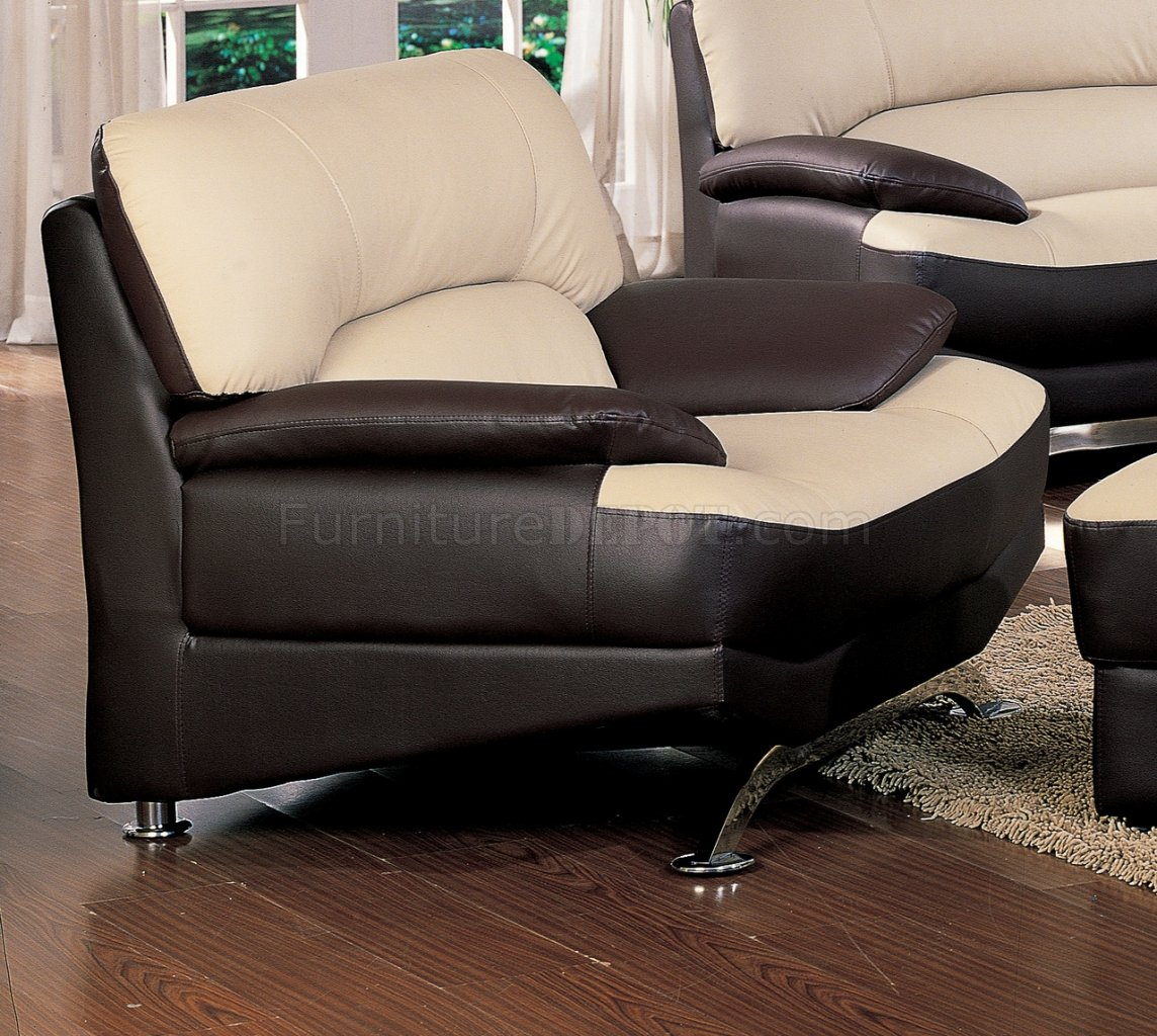 Saddle Amp Brown Two Tone Full Bonded Leather Modern Sofa