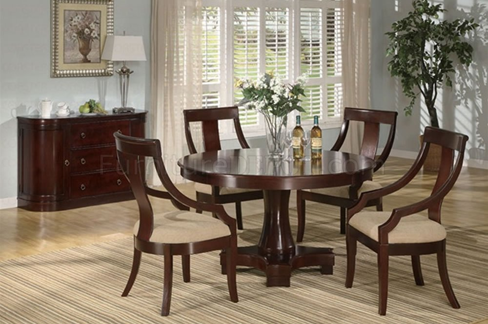 Deep cherry finish classic dinning room w round dining table for Round dining room tables