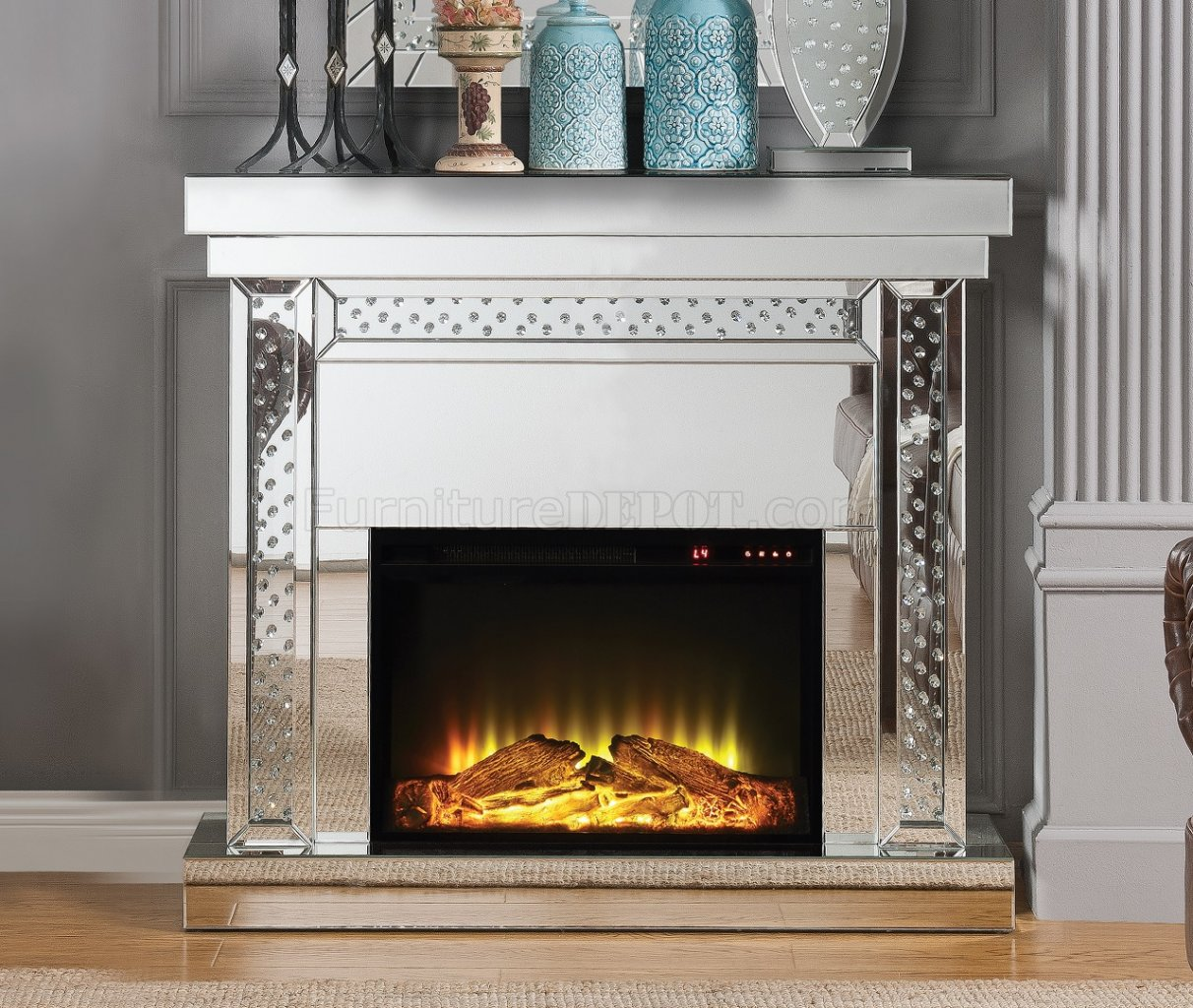 Nysa Fireplace 90272 In Mirror By Acme W Adjustable