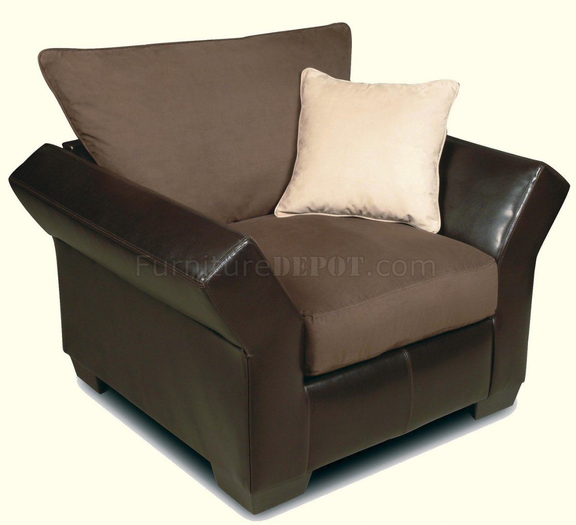 Contemporary vinyl leather mocha micro suede sectional for Suede sectional