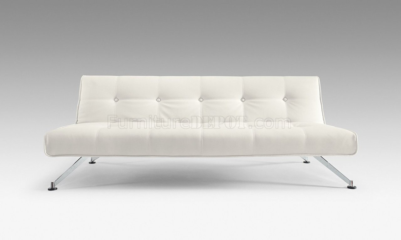 White Full Leatherette Modern Convertible Sofa Bed W/Chrome Legs