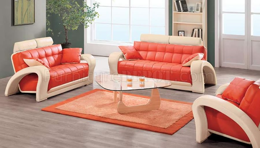 Contemporary Orange & Beige Bonded Leather 7030 Living Room Sofa