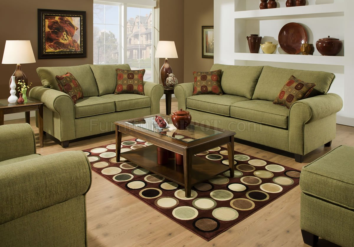Olive Fabric Modern Casual Sofa & Loveseat Set w/Throw Pillows
