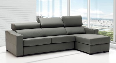 Lucas Sectional Sofa in Grey Full Leather by ESF w Sleeper