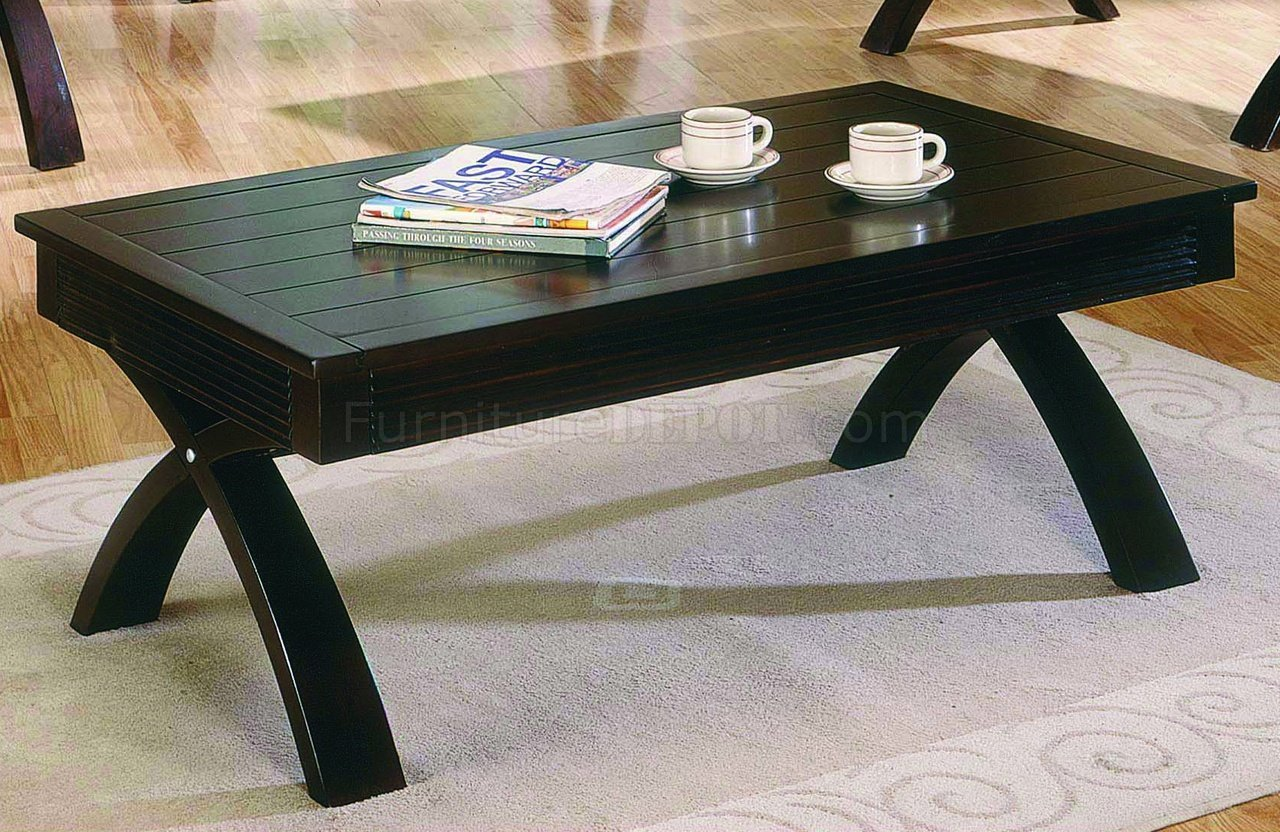 dark brown contemporary coffee table w fold out table top