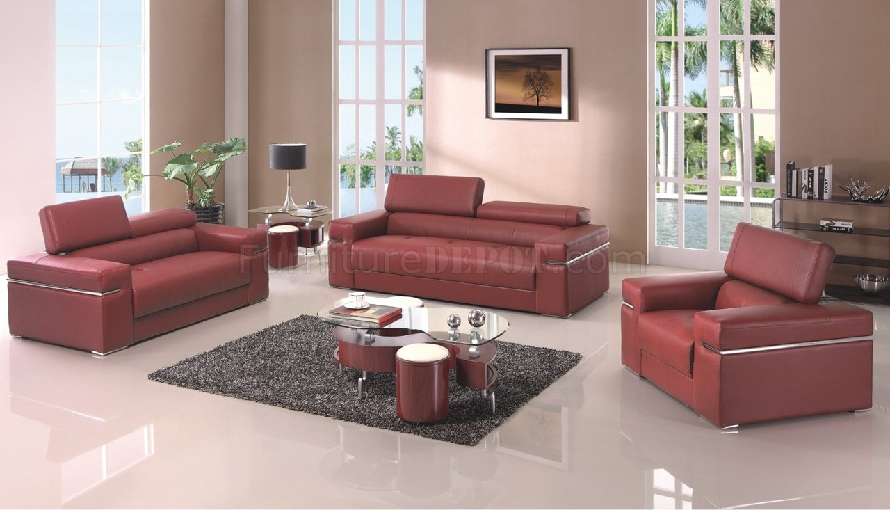 Lovely Sierra Maroon Sofa In Bonded Leather By American Eagle Furniture