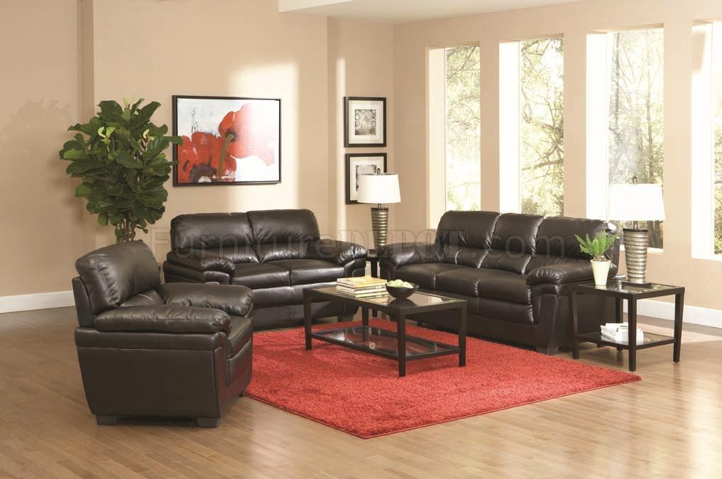 Fenmore Sofa & Loveseat Set 502951 Black Leather-Like Fabric