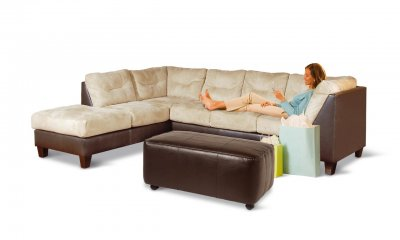 Two toned contemporary sectional sofa w extra long chaise for Chaise long sofa