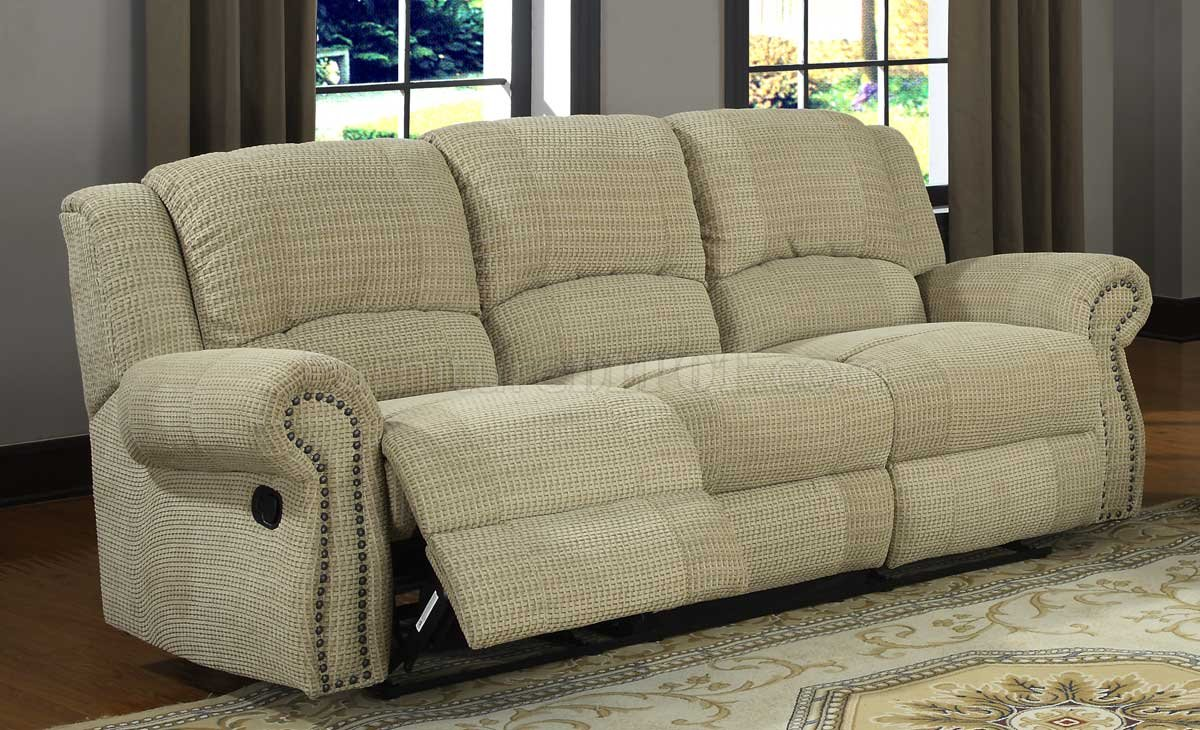 9708cn Quinn Motion Sofa In Beige Chenille Fabric By