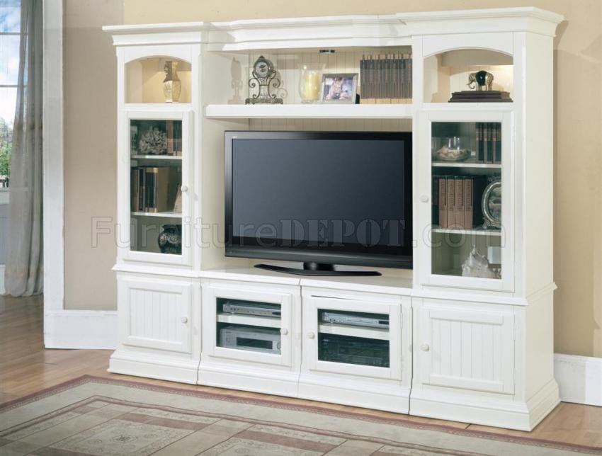 Vintage White Modern Hartford Expandable Entertainment Wall Unit