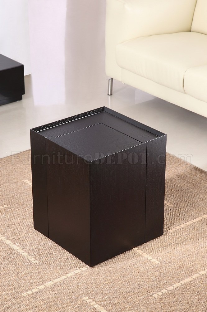 Dark Oak Finish Modern End Table W Mini Bar