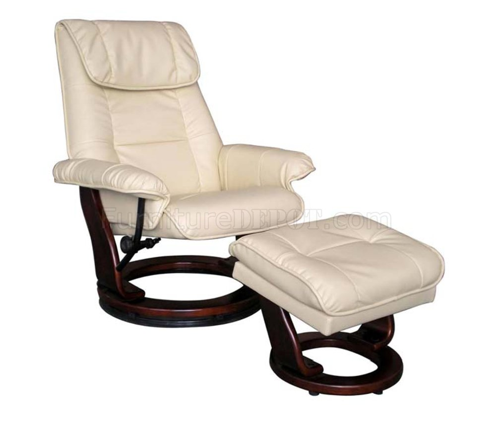 Taupe or Brown Bonded Leather Modern Recliner Chair wOttoman