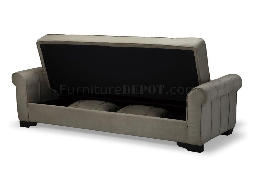 Delux Mocha Microfiber Sleeper Sofa With Storage