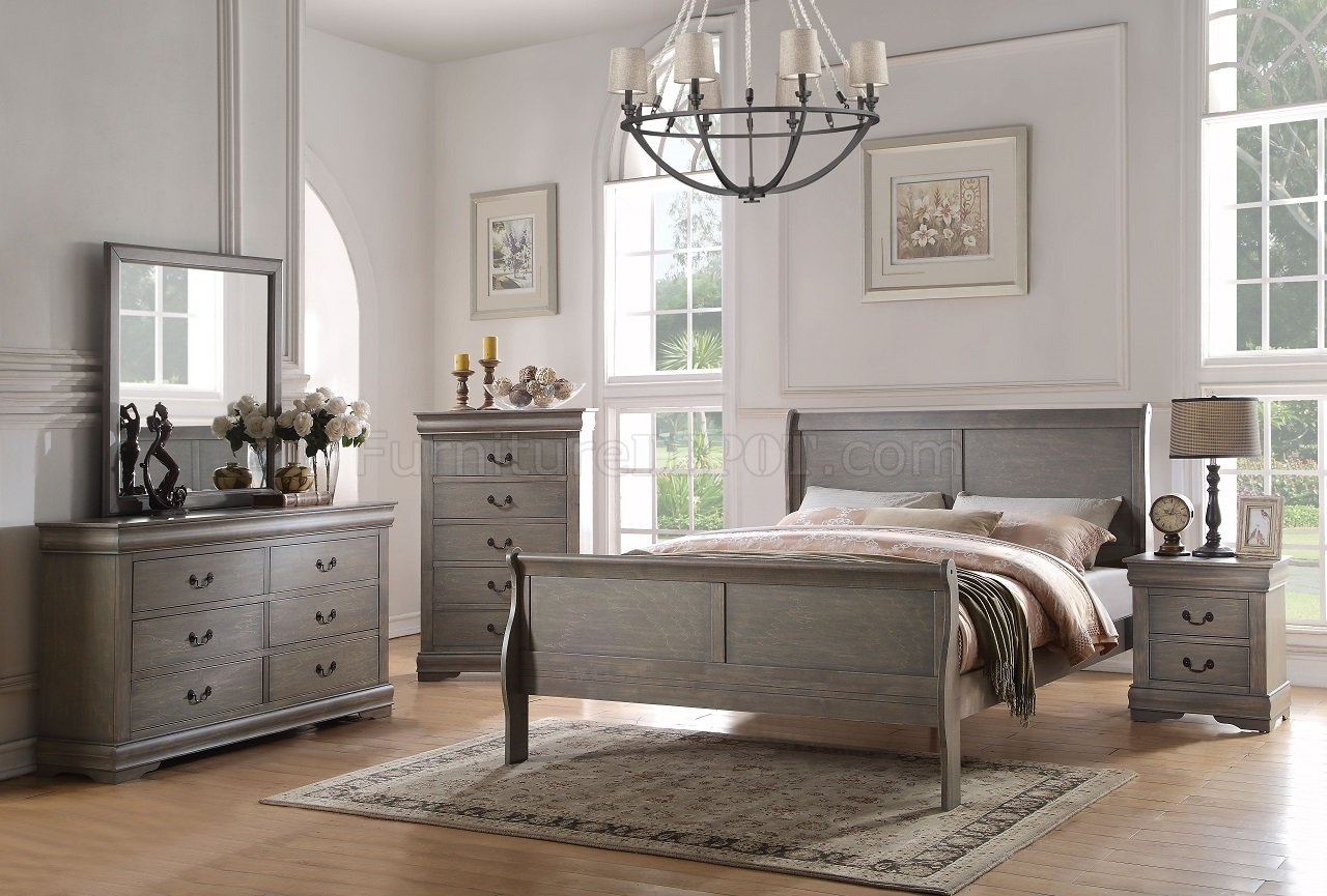 Contemporary Bedroom Set London Black By Acme Furniture: Louis Philippe Bedroom 23860 5Pc Set In Antique Gray By Acme