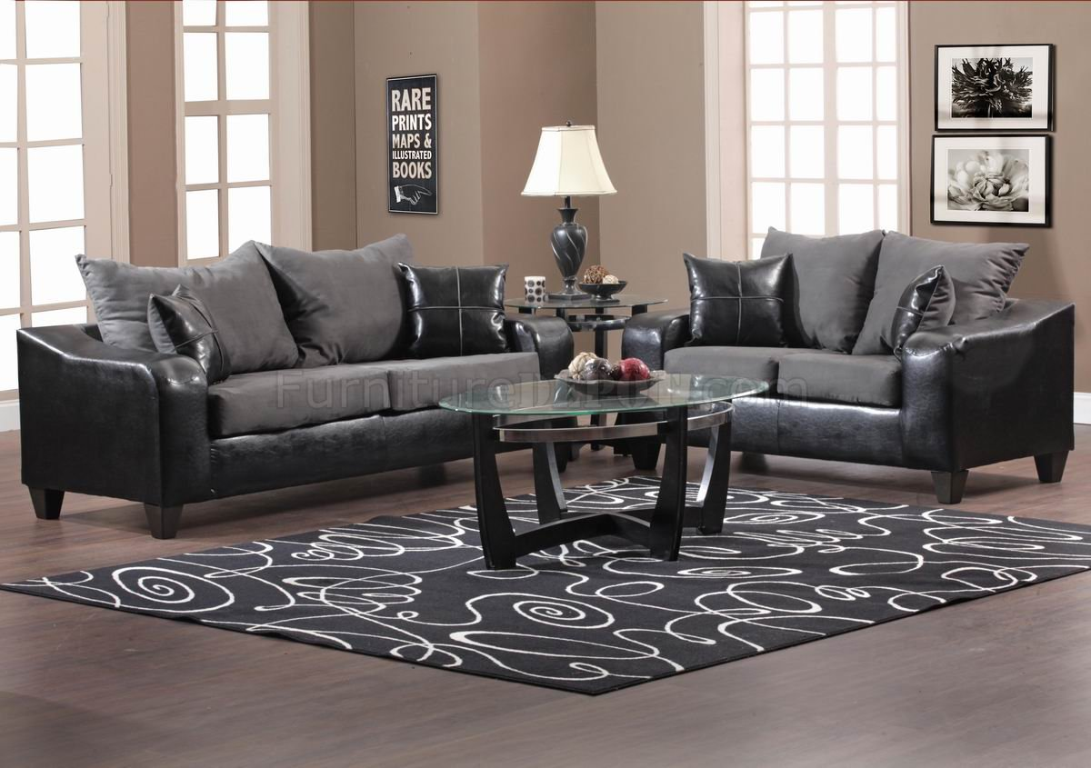 Black Vinyl and Grey Fabric Modern Sofa & Loveseat Set w/Options