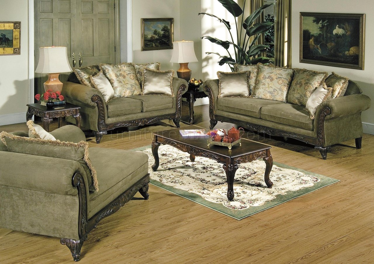 Alpine Microfiber Traditional Living Room Sofa W Wooden Accents