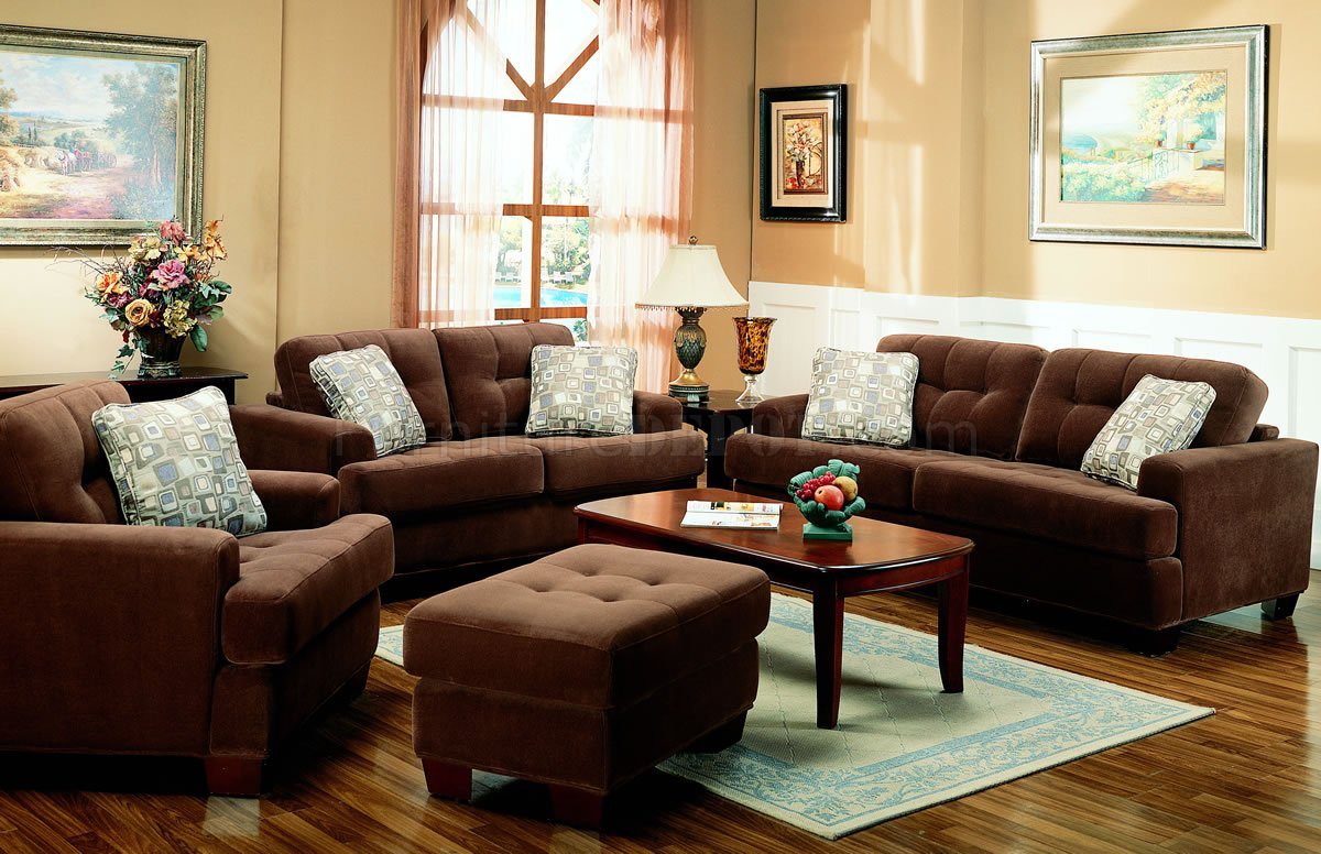 Brown Terry Cloth Living Room WButton Tufted Seats