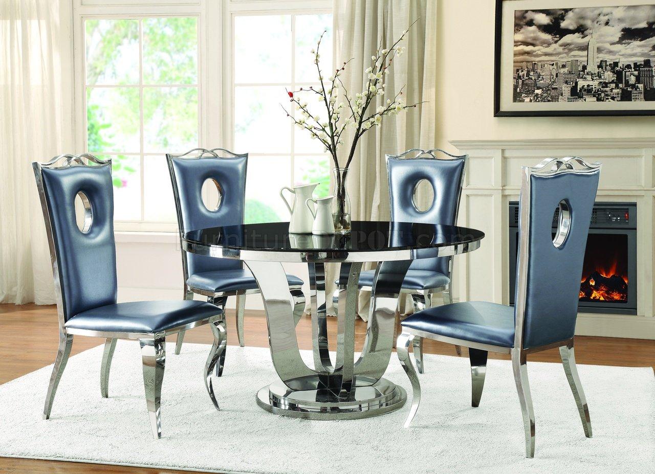 Blasio Dining Table 107881 In Chrome Amp Black Coaster W