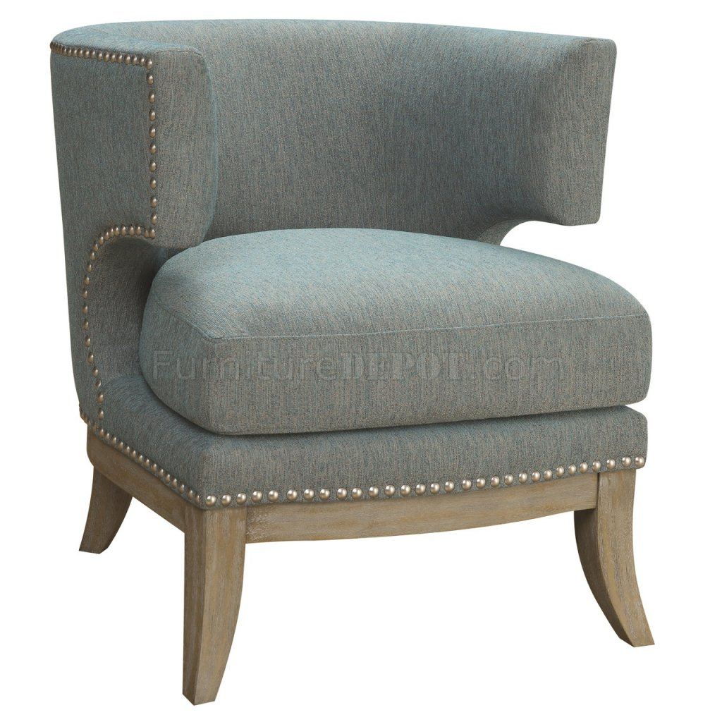 902558 Accent Chair In Blue Chenille Fabric By Coaster