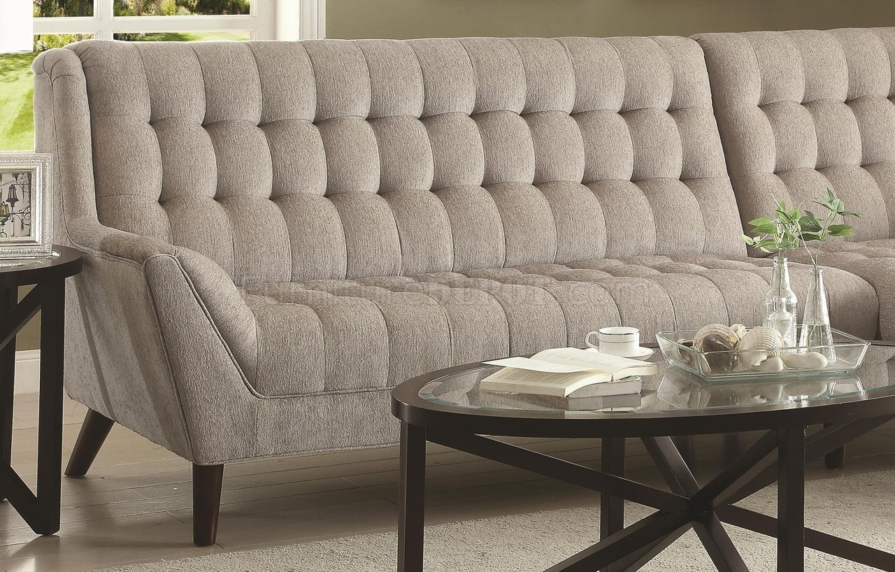 Cool Natalia Sectional Sofa 503777 In Dove Grey Fabric By Coaster Gmtry Best Dining Table And Chair Ideas Images Gmtryco