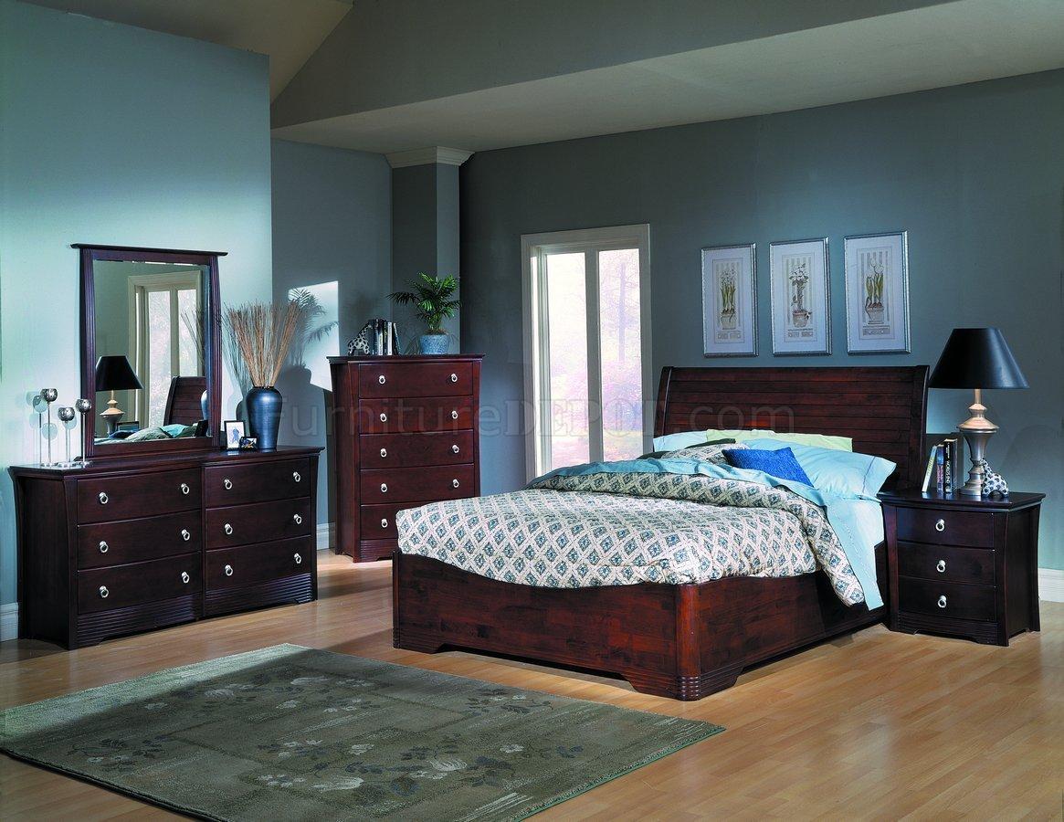 Merlot Finish Stylish Low Profile Bed W Optional Case Pieces