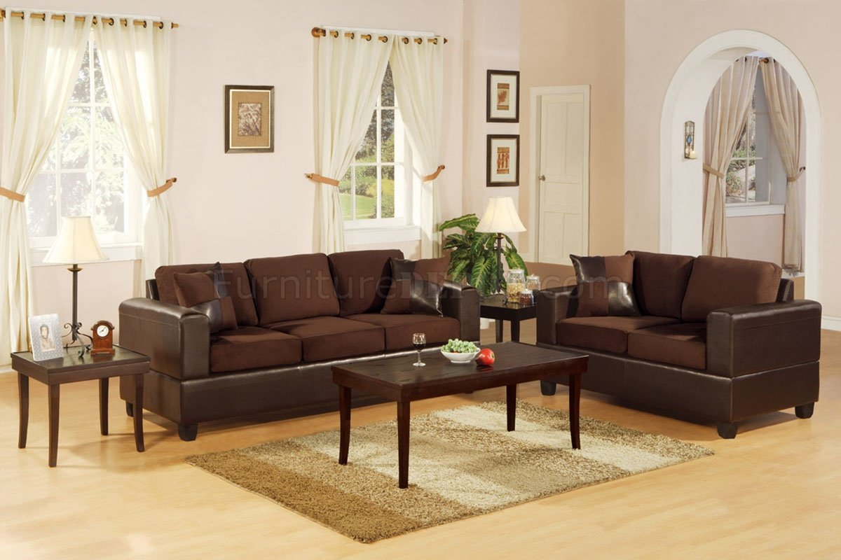 F7591 Chocolote Microfiber Living Room Set by Poundex