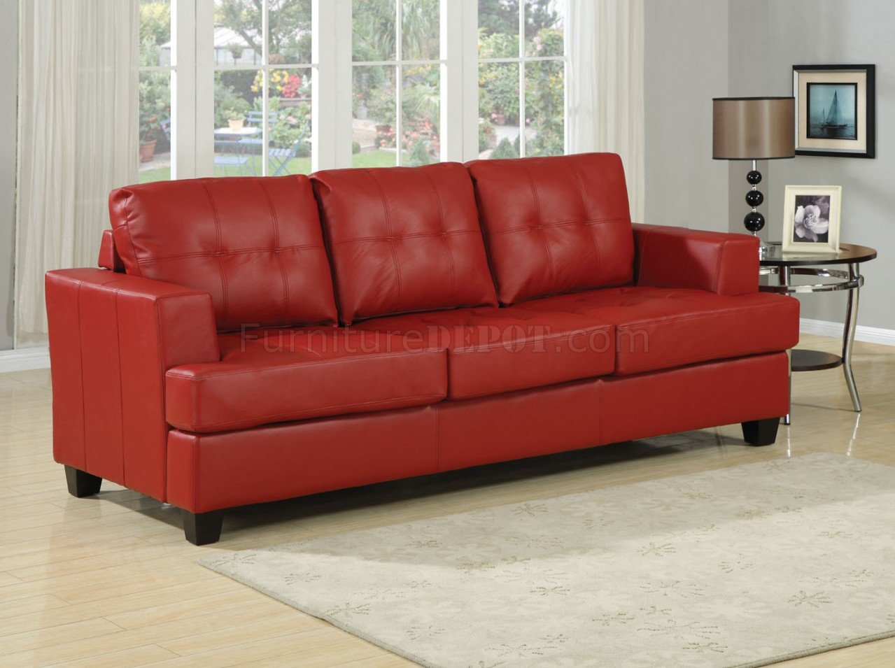 Red Bonded Leather Modern Sofa W Queen Size Sleeper