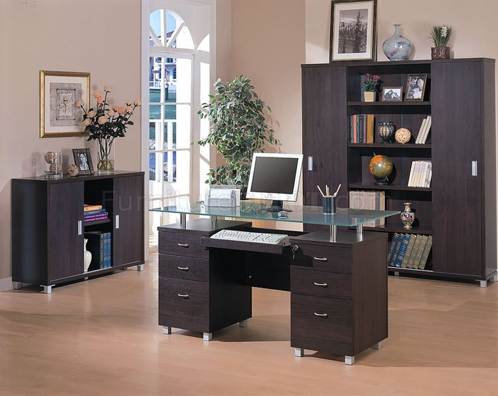 Office Furniture: Espresso Finish Contemporary Office Desk W/Glass Top