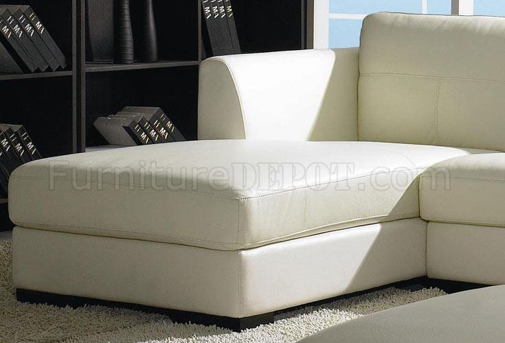 Off White Leather Modern Low Profile Sectional Sofa W Ottoman