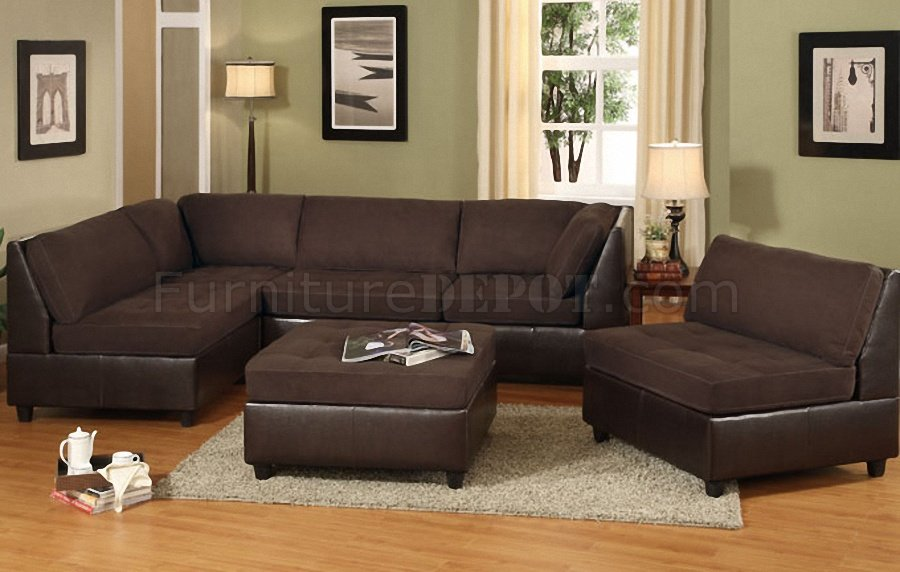 chocolate brown 4pc sectional sofa wfaux leather base p