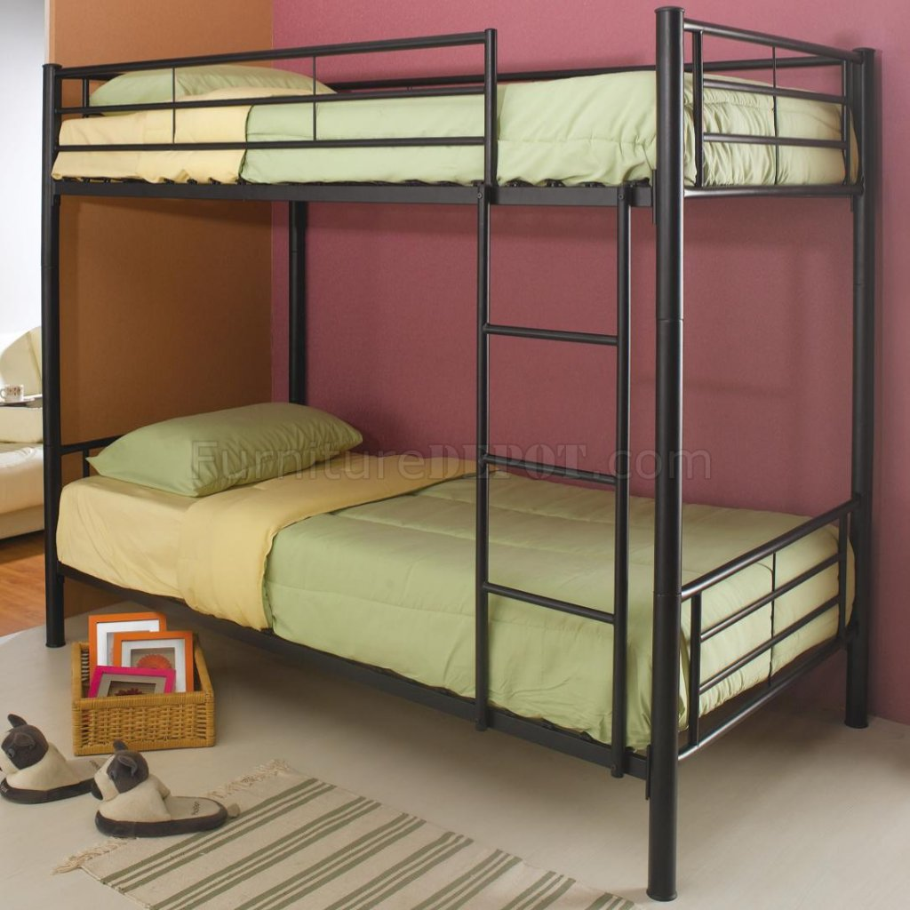 Black metal modern twin over twin bunk bed w attached ladder Black bunk beds