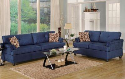 Navy Microfiber Plush Contemporary Sofa Amp Loveseat Set