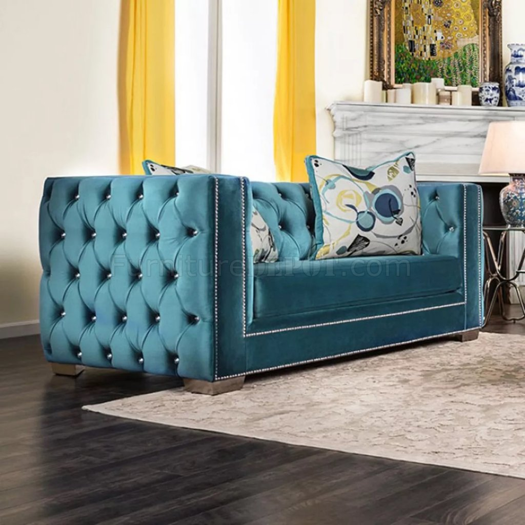 Salvatore Sofa Sm2282 In Turquoise Velvet Fabric W Options