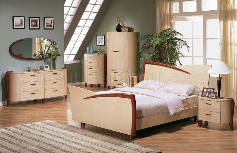 maple color high gloss finish bedroom set with cherry accents gfbs 70