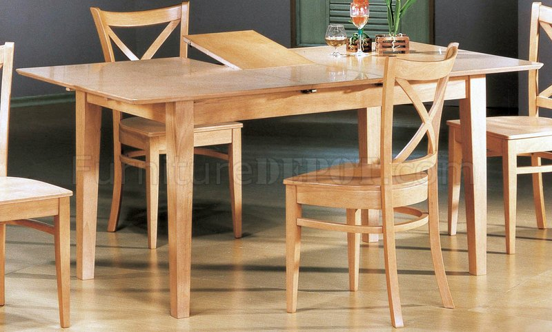 Natural Finish Modern 5Pc Dining Set W Butterfly Leaf Table