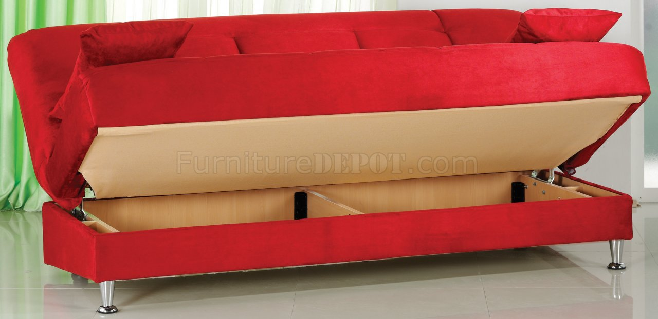 Vegas Rainbow Storage Sofa Bed In Red