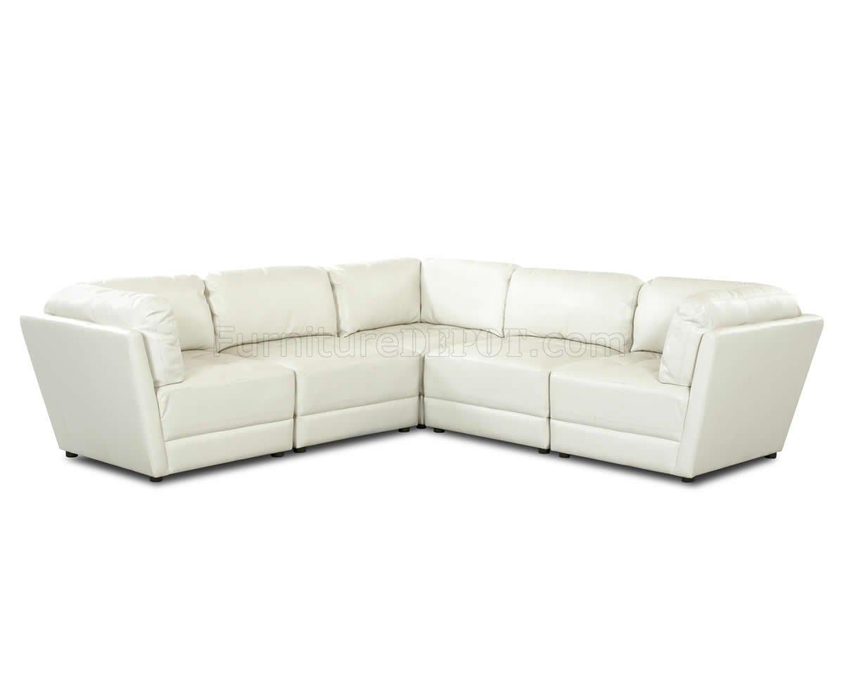 White Bonded Leather Stylish Sectional Sofa W Tufted Seats