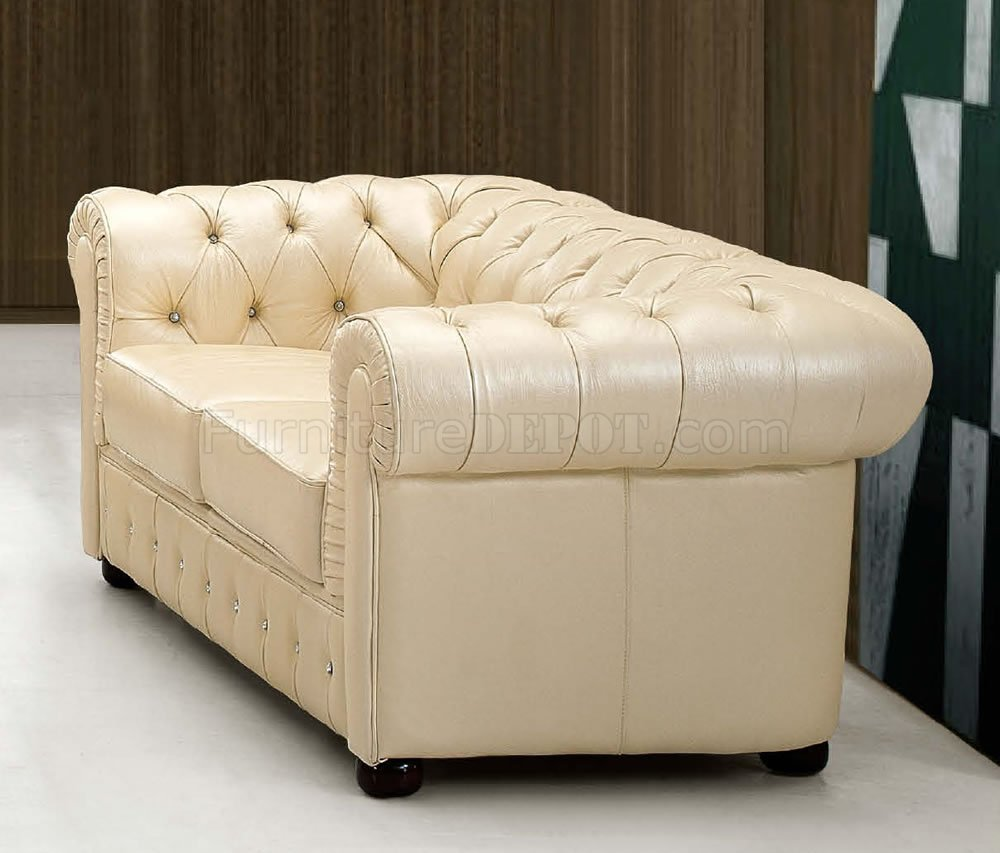 Beige Genuine Tufted Leather Formal Living Room Sofa