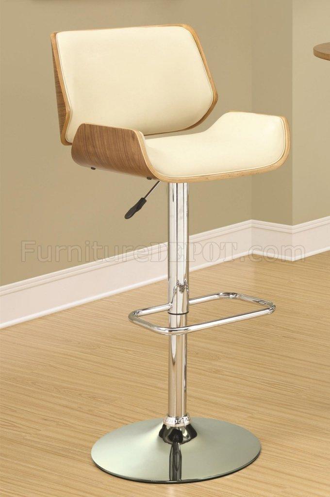 130503 Adjastable Bar Stool Set Of 2 In Ecru Walnut By Coaster