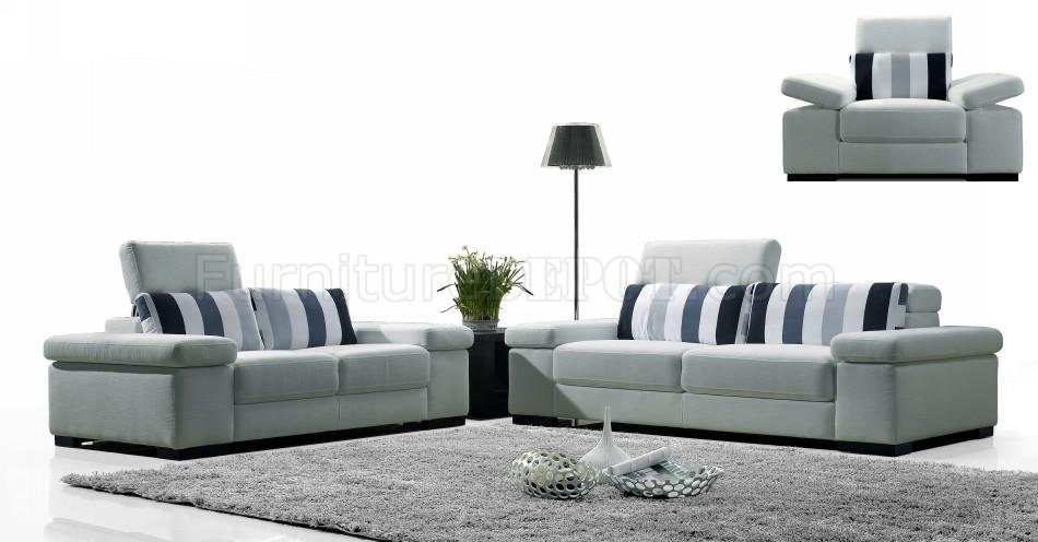 Light Grey Fabric Modern 3Pc Sofa Set w/Striped Pillows VGS MB1013