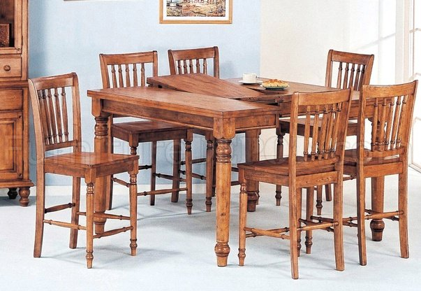 Oak Finish Modern 7pc Counter Height Dining Set Woptions