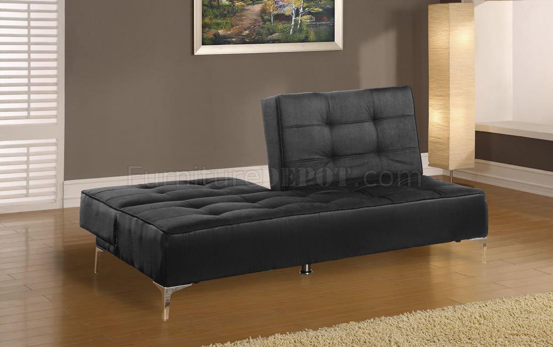 Black Microfiber Contemporary Sofa Bed With Split Back