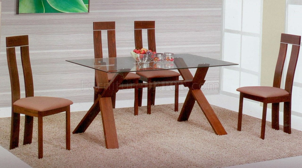Light brown modern glass top dining table w optional chairs for Latest wooden dining table designs with glass top