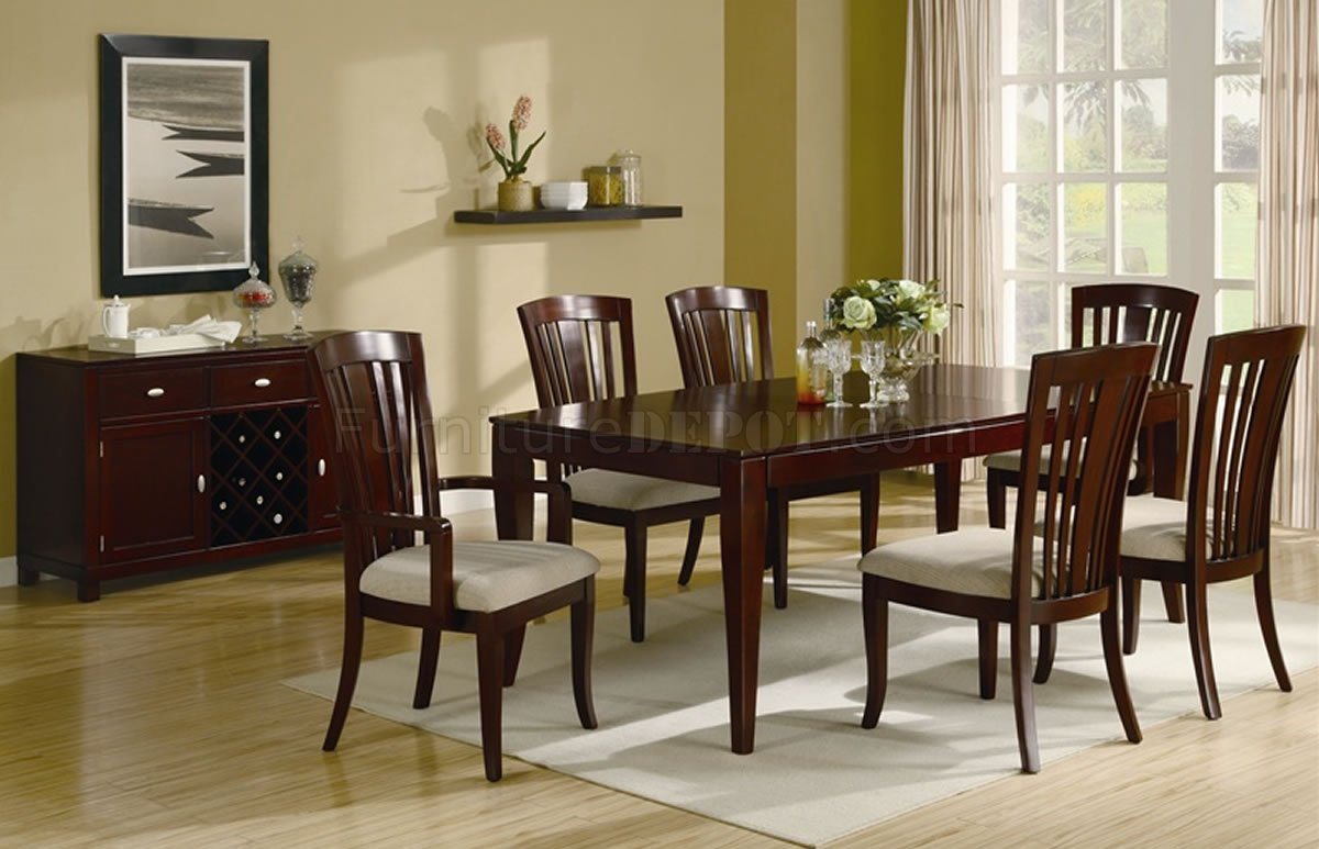 Rich Cherry Finish Contemporary Dining Table W Optional Chairs