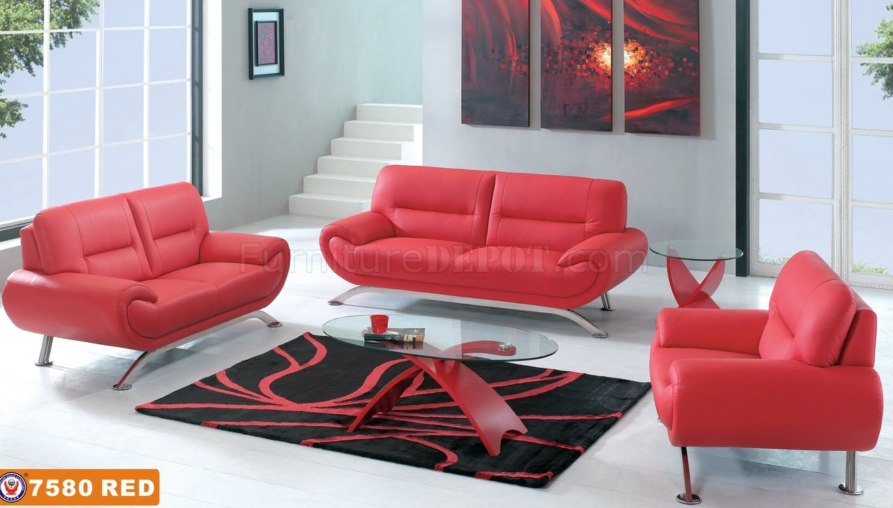 Contemporary Red Leather 7580 Sofa With Options Metal Legs
