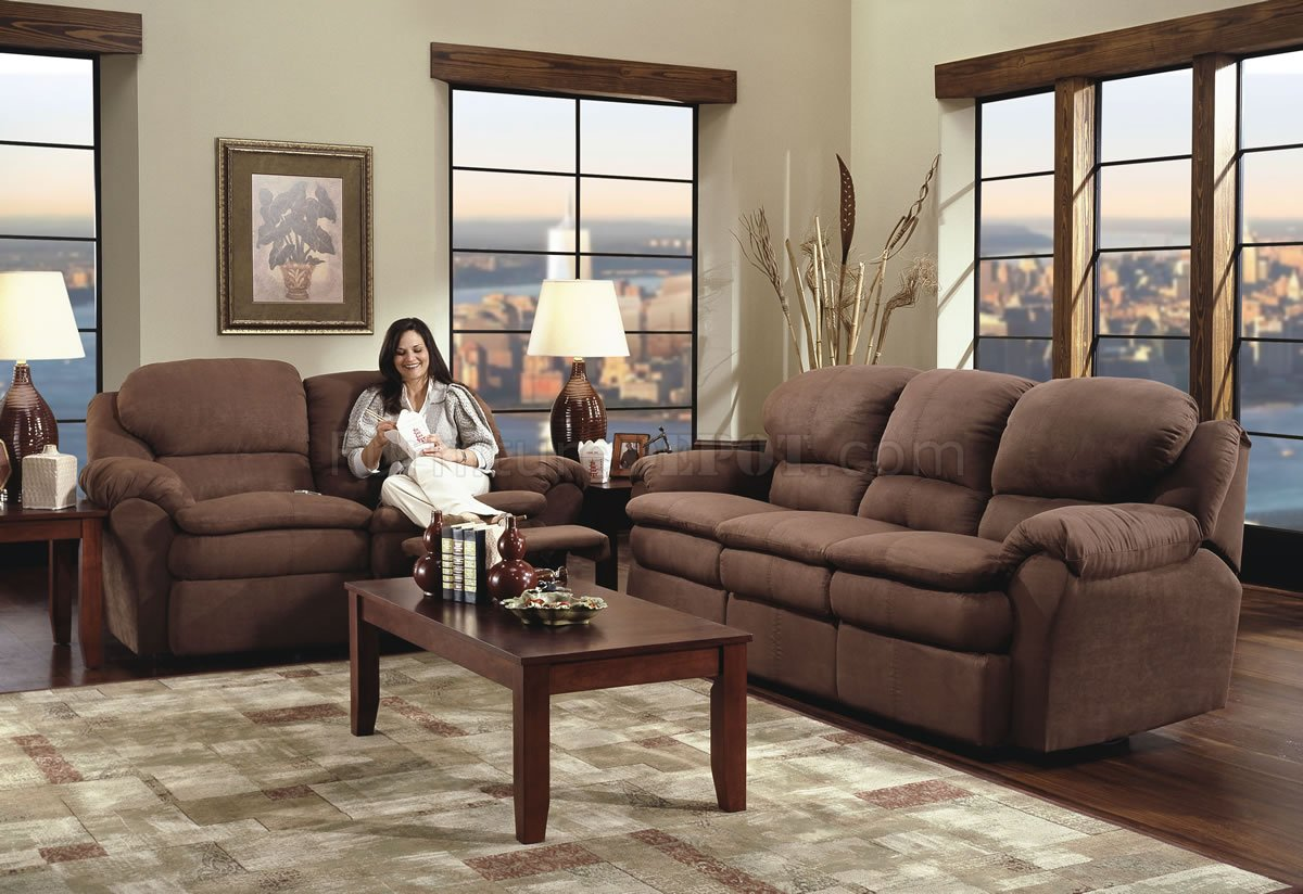 & Chocolate Microfiber Modern Double Reclining Sofa u0026 Loveseat Set islam-shia.org