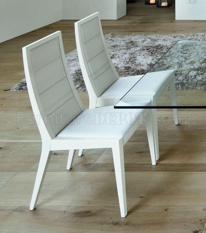 White Ultra Modern Dining Table W/Two Pedestal Legs U0026 Glass Top