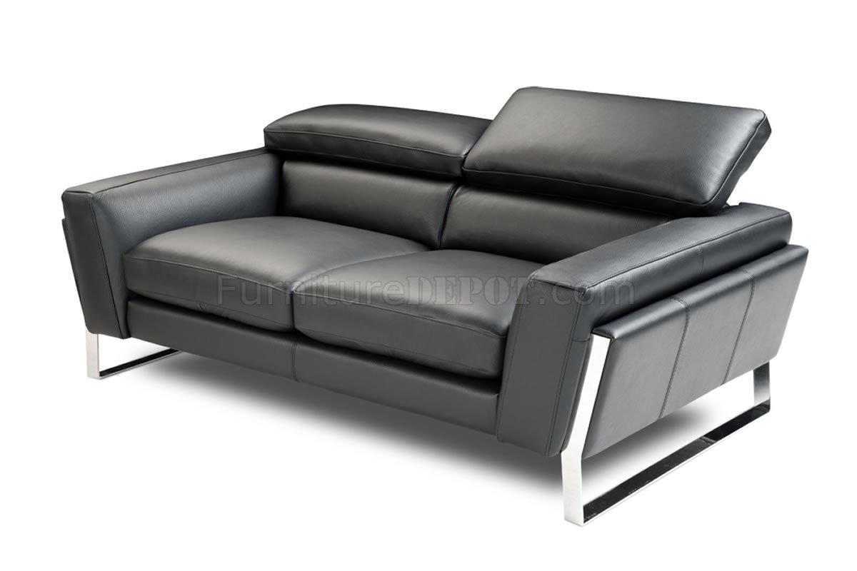 Black Top Grain Italian Leather Modern Sofa W Optional Loveseat